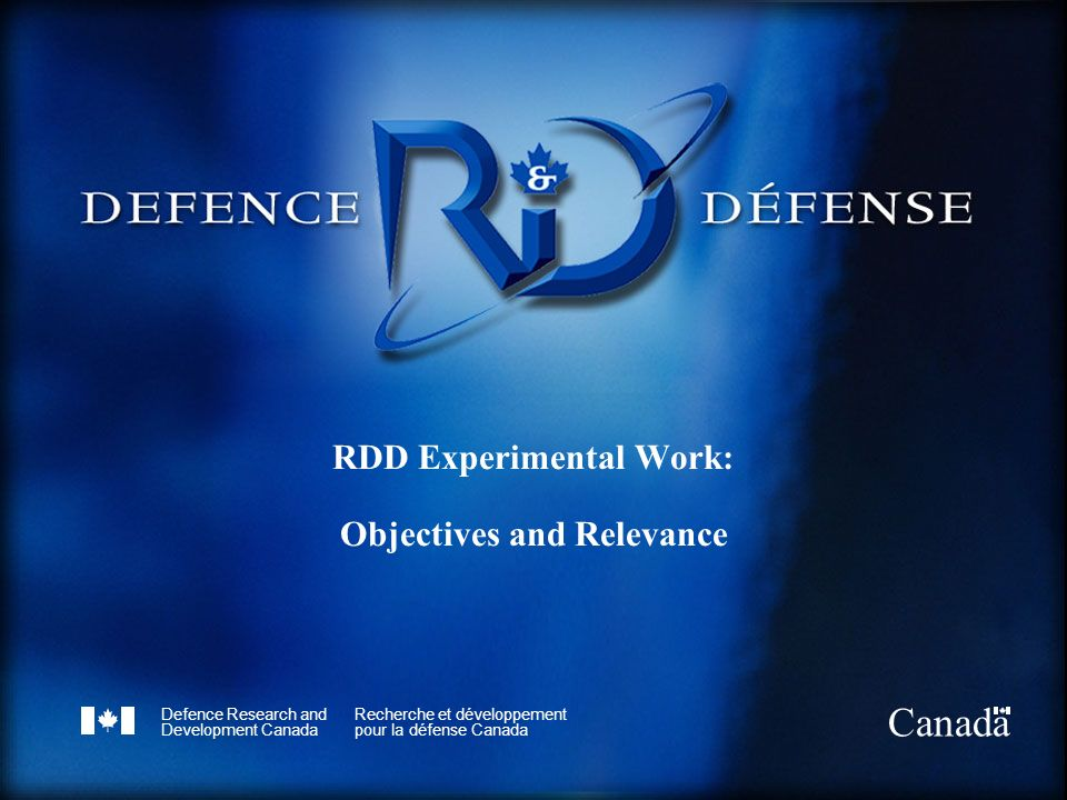 RDD Experimental Work: Objectives and Relevance