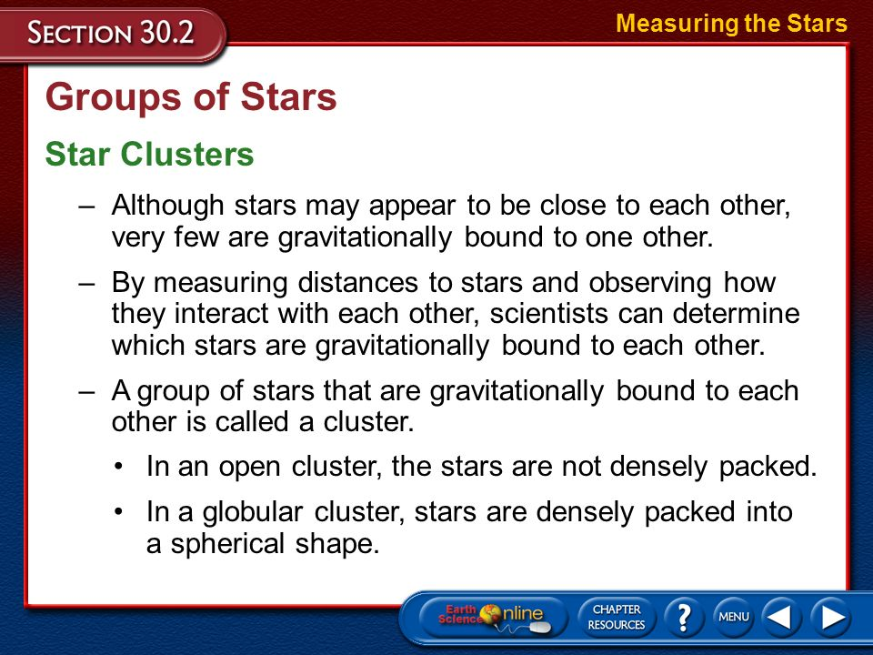 Groups of Stars Star Clusters