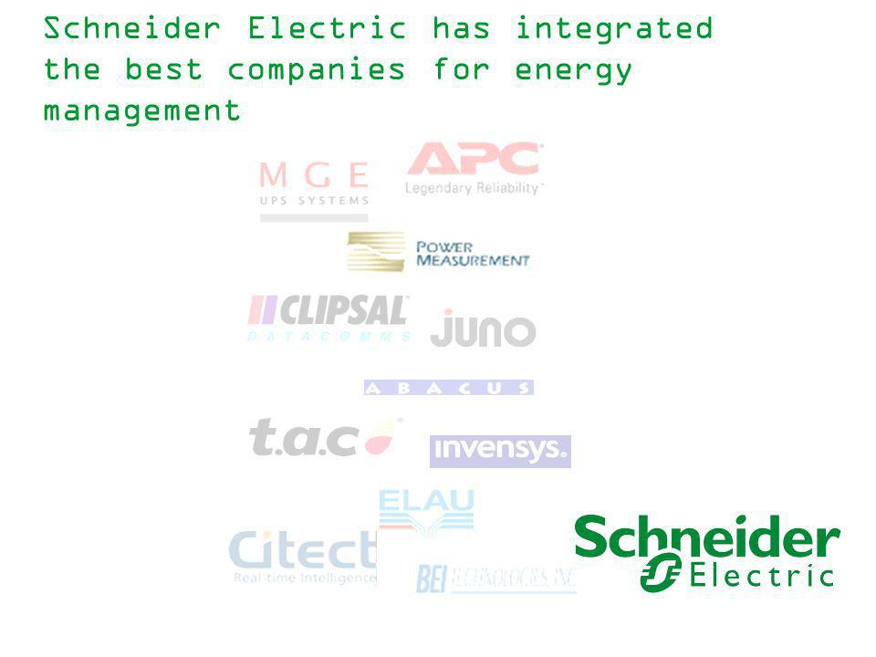 Schneider Electric has integrated the best companies for energy management