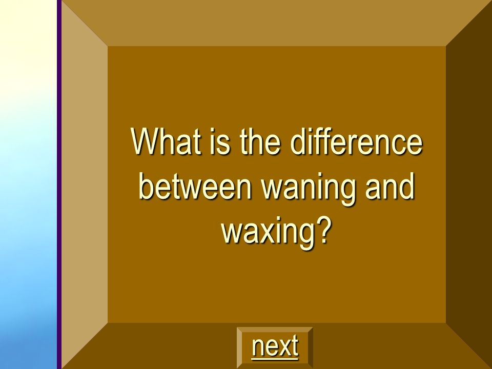 What is the difference between waning and waxing