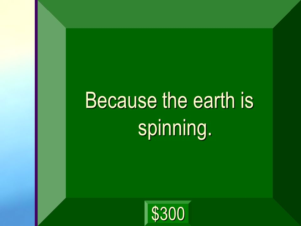 Because the earth is spinning.