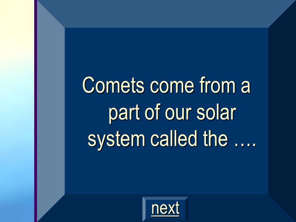 Comets come from a part of our solar system called the ….