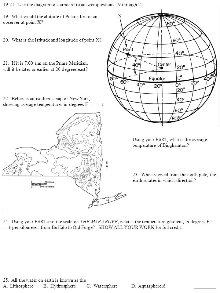 Test the second the tudes contour maps shape of the earth and the use the diagram to starboard to answer questions 19 through 21 ccuart Choice Image
