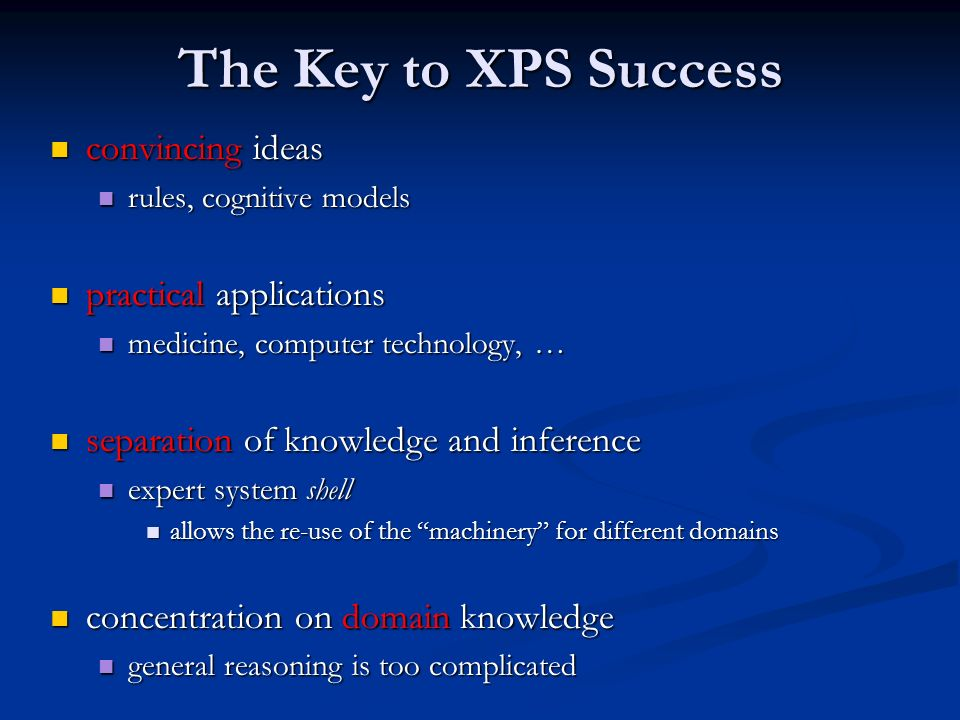 The Key to XPS Success convincing ideas practical applications