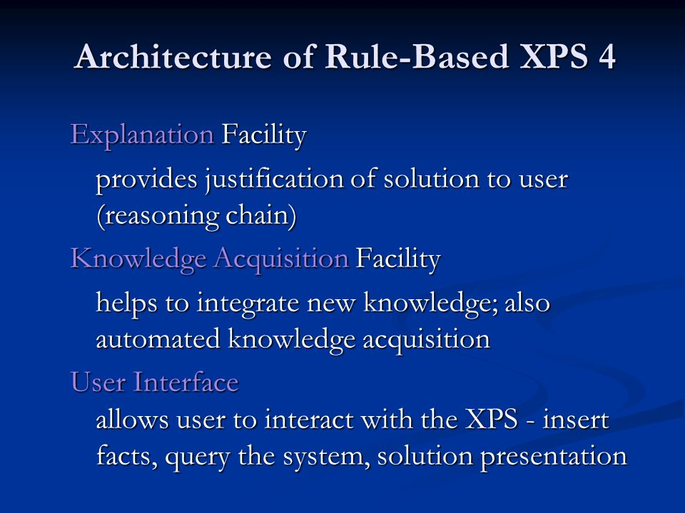 Architecture of Rule-Based XPS 4