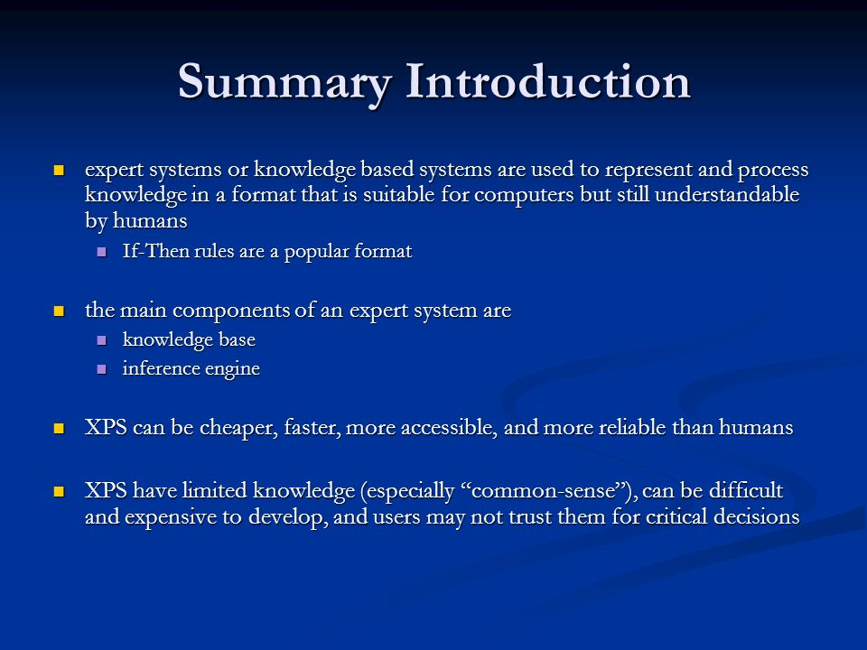 Summary Introduction