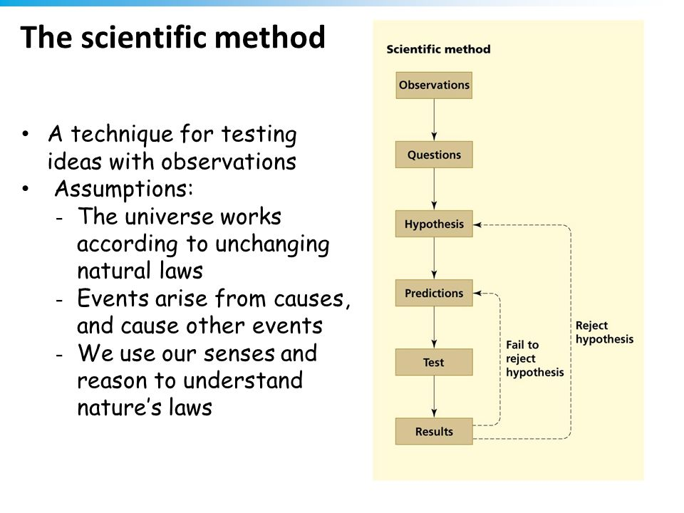The scientific method A technique for testing ideas with observations