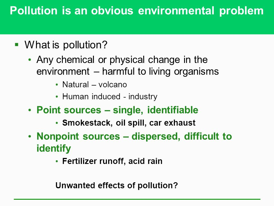 Pollution is an obvious environmental problem