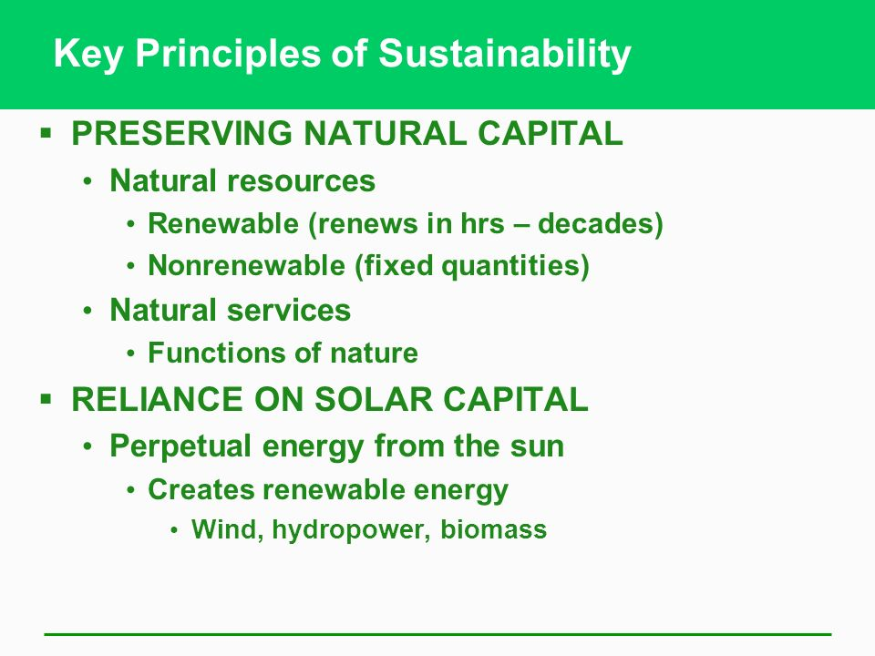 Key Principles of Sustainability