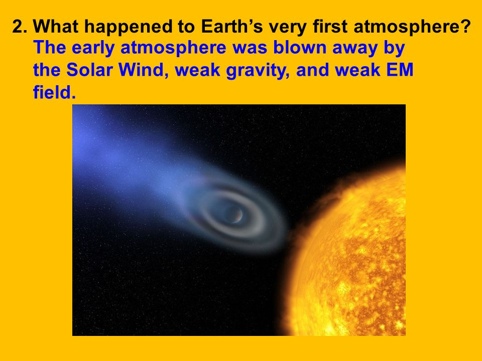 2. What happened to Earth's very first atmosphere