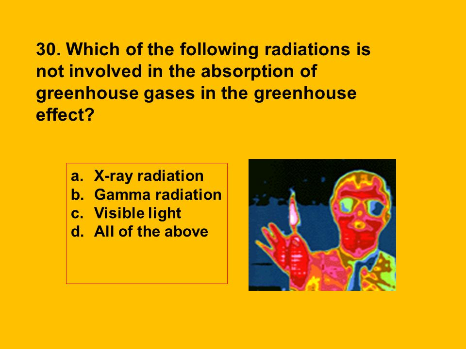 30. Which of the following radiations is not involved in the absorption of greenhouse gases in the greenhouse effect