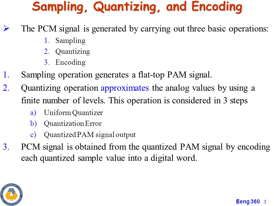 Chapter 3: Pulse Code Modulation - ppt video online download