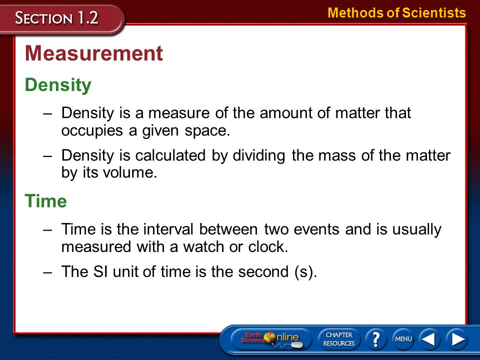 Measurement Density Time