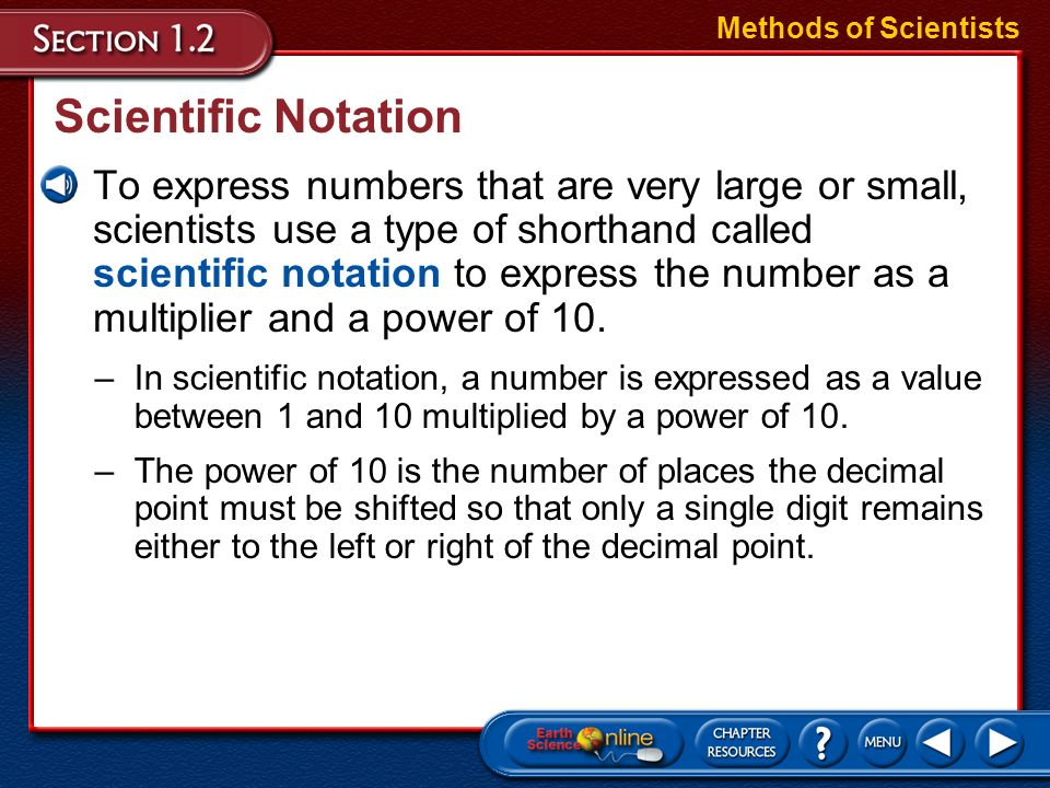 Methods of Scientists Scientific Notation.