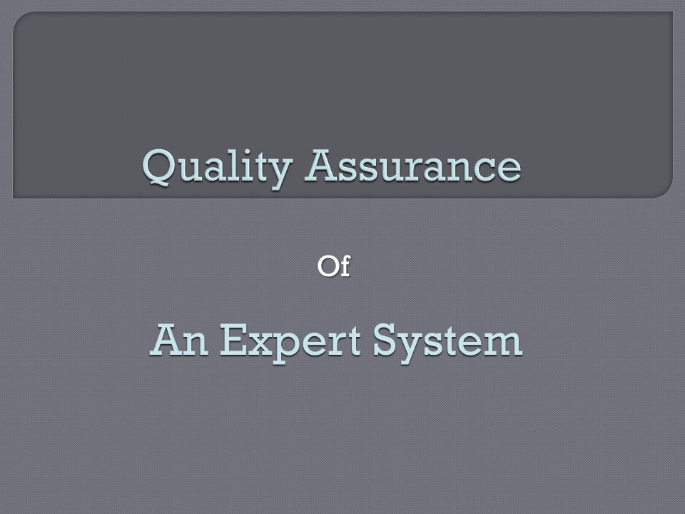 Quality Assurance Of An Expert System