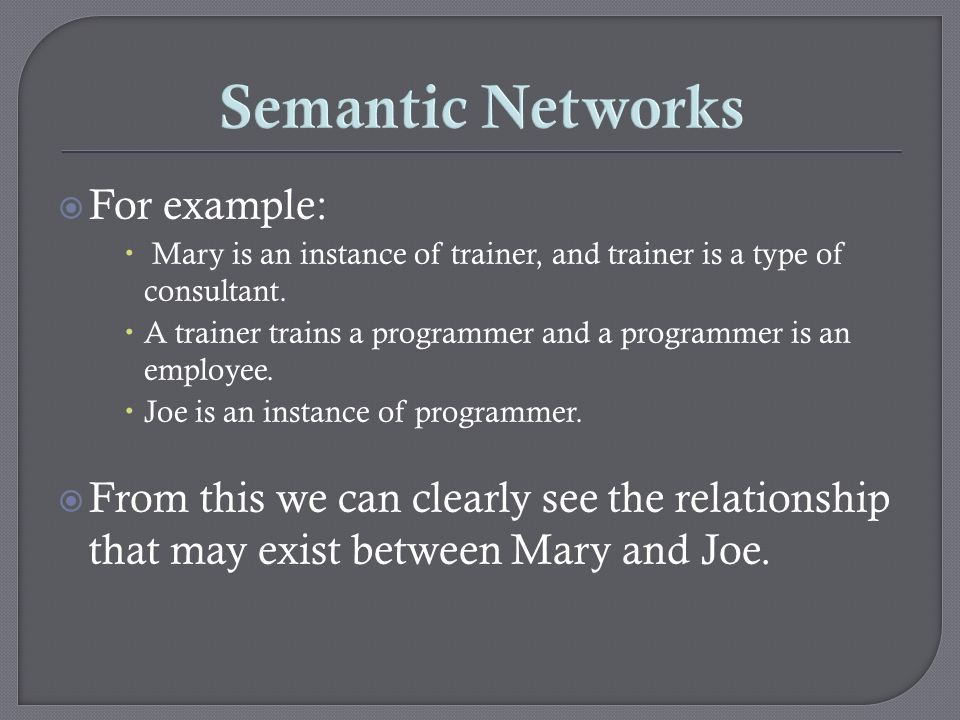 Semantic Networks For example: