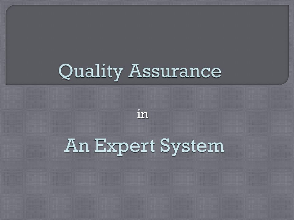 Quality Assurance in An Expert System