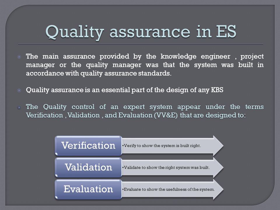 Quality assurance in ES