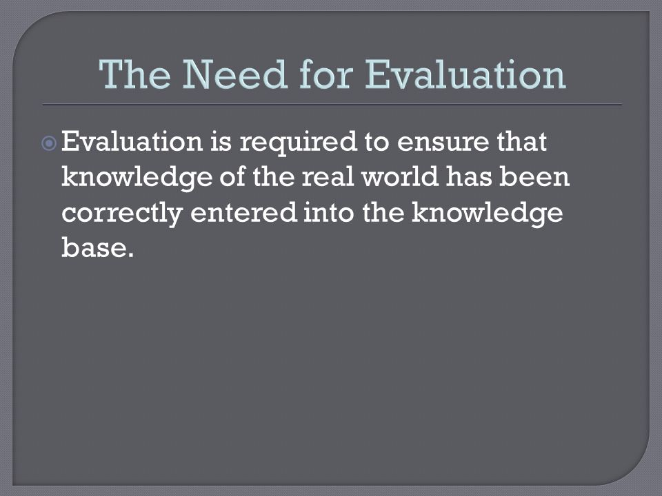 The Need for Evaluation