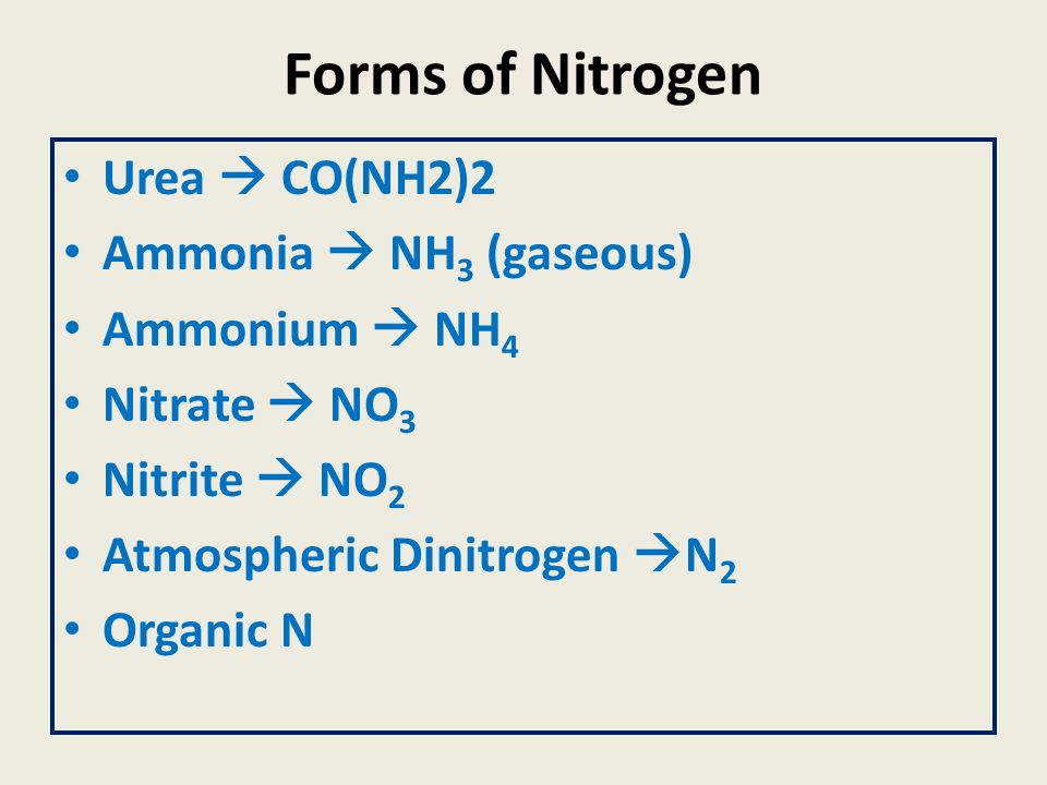 Forms of Nitrogen Urea  CO(NH2)2 Ammonia  NH3 (gaseous)