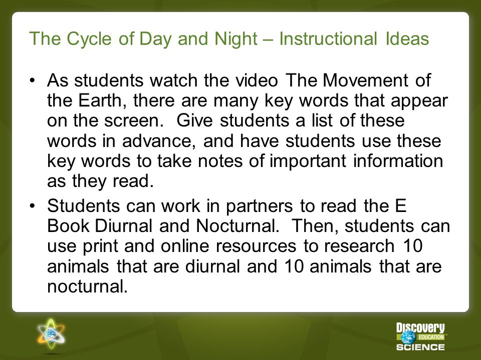 The Cycle of Day and Night – Instructional Ideas