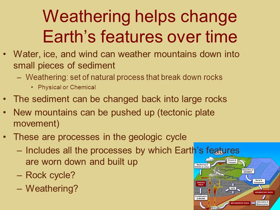 Weathering helps change Earth's features over time