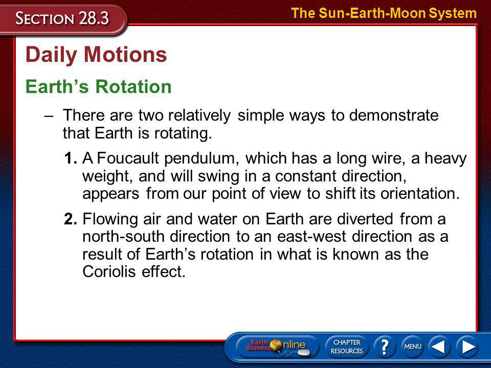 Daily Motions Earth's Rotation