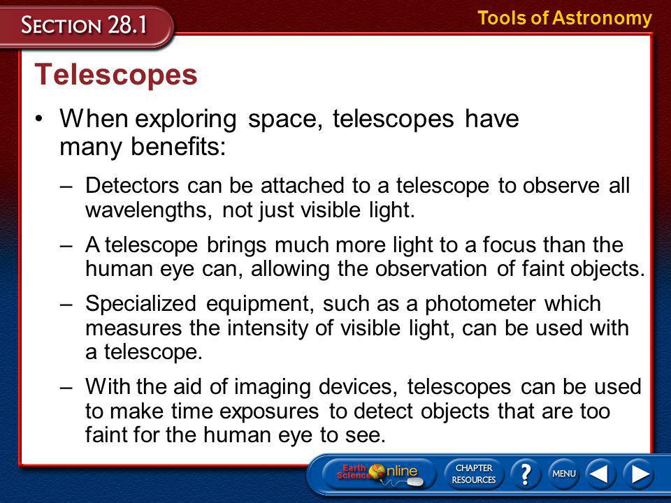 Telescopes When exploring space, telescopes have many benefits: