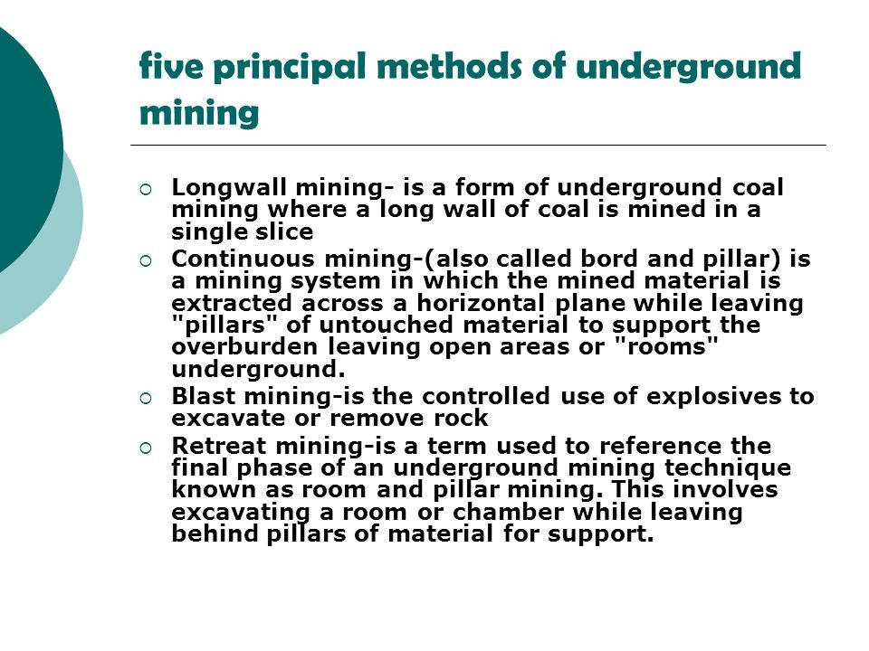 five principal methods of underground mining