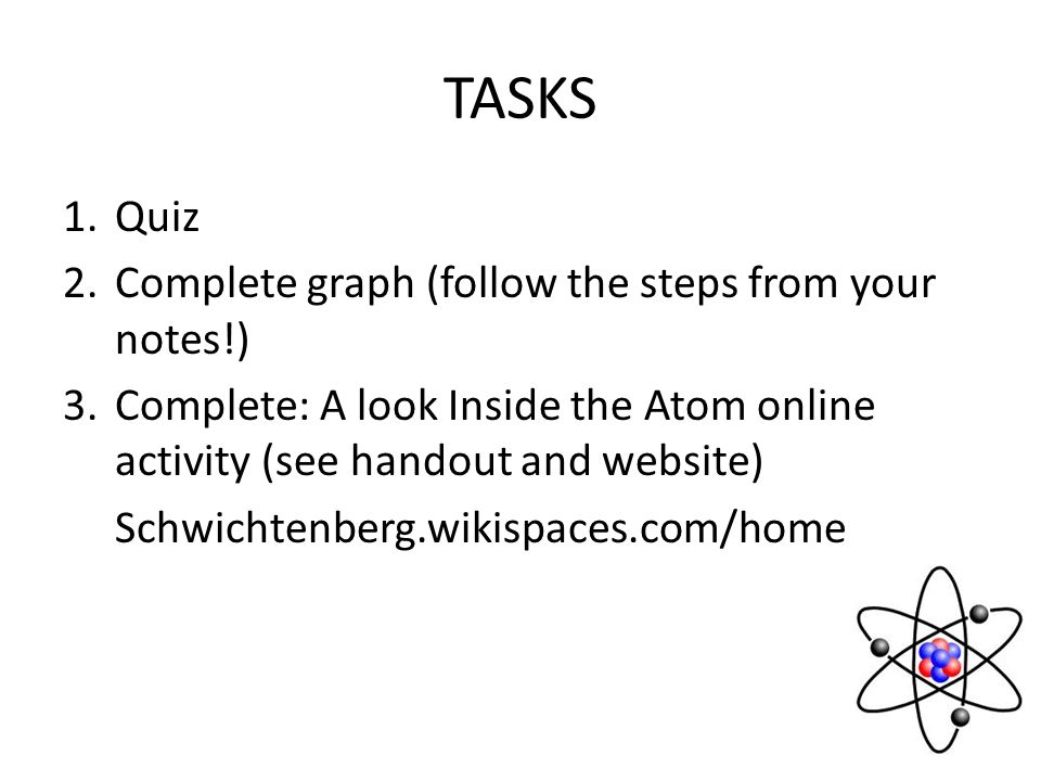 TASKS Quiz Complete graph (follow the steps from your notes!)