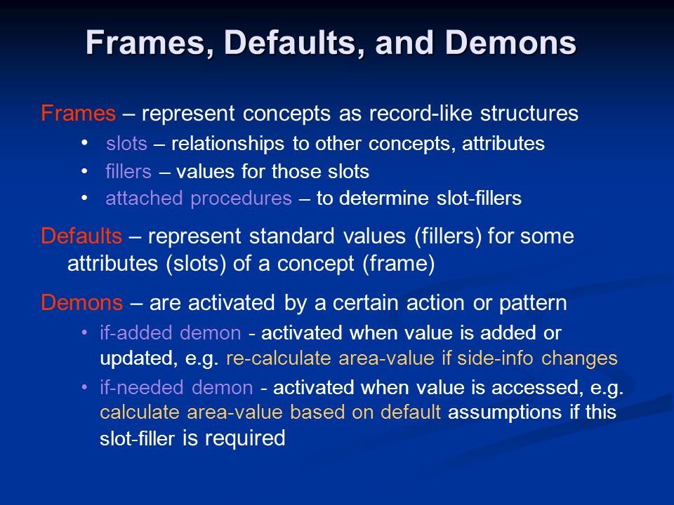 Frames, Defaults, and Demons