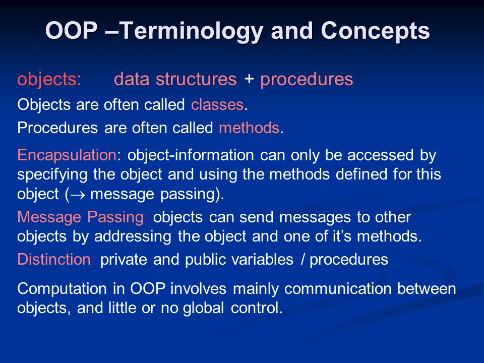 OOP –Terminology and Concepts