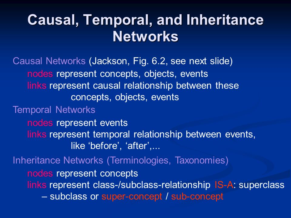 Causal, Temporal, and Inheritance Networks