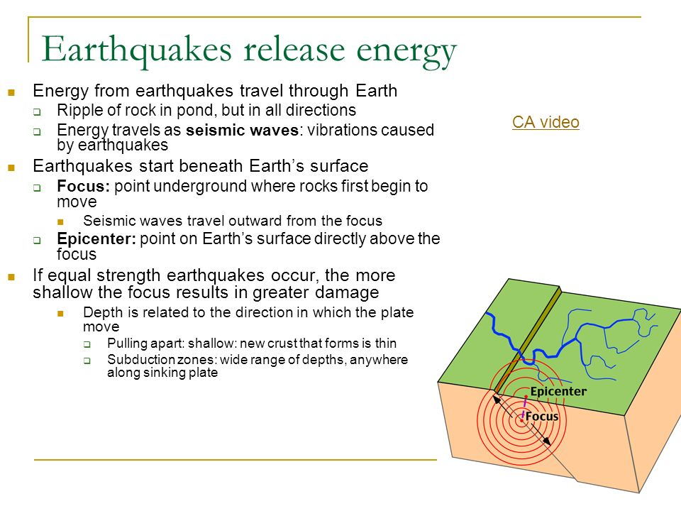 Earthquakes release energy