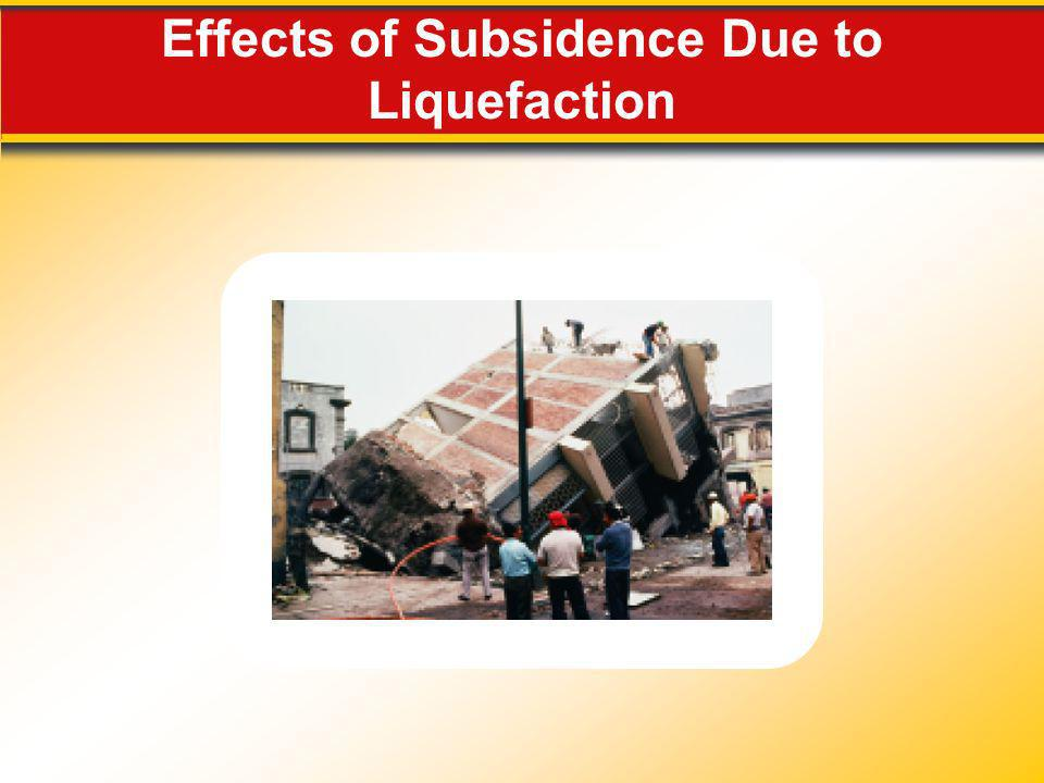Effects of Subsidence Due to Liquefaction