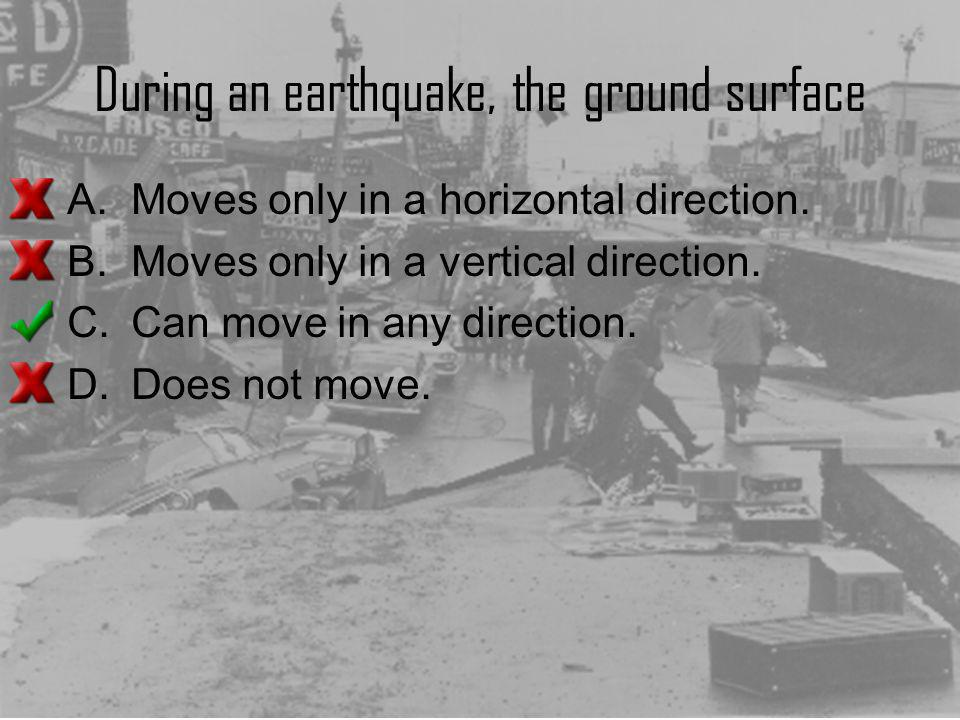 During an earthquake, the ground surface