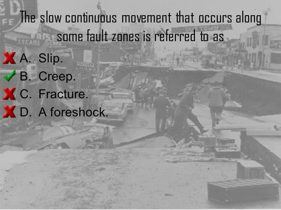 The slow continuous movement that occurs along some fault zones is referred to as
