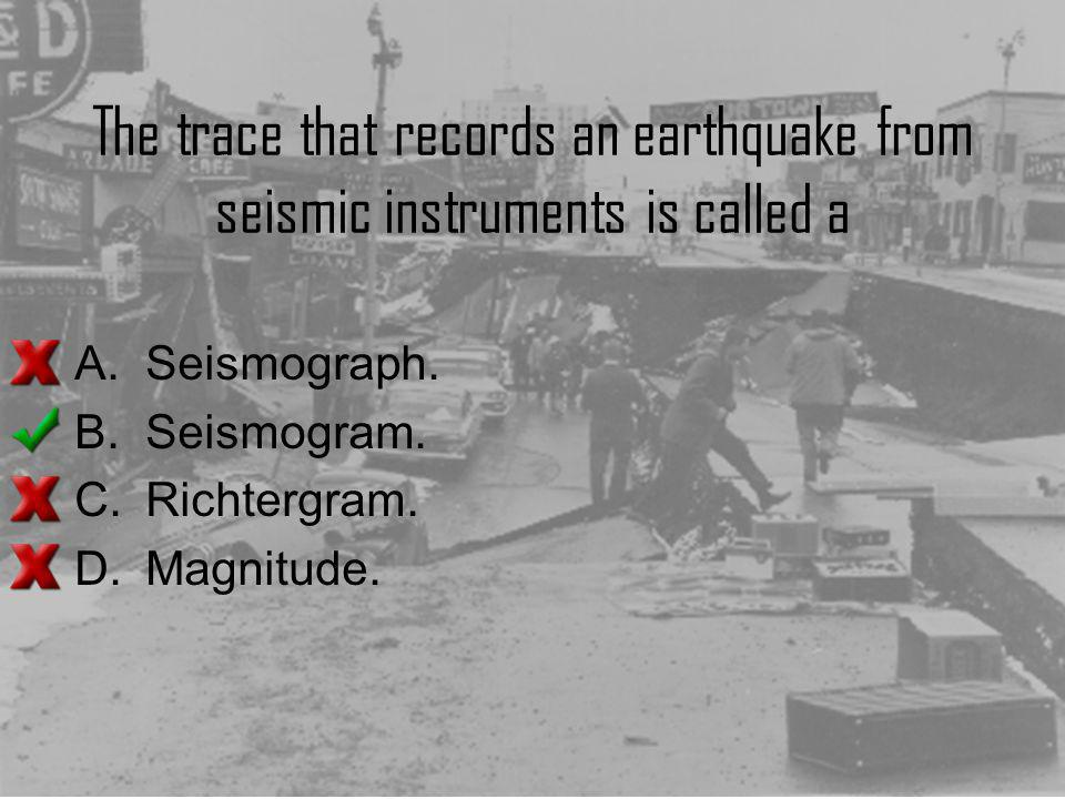 The trace that records an earthquake from seismic instruments is called a