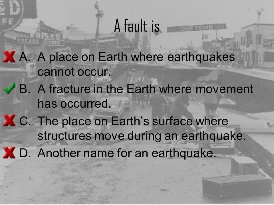 A fault is A place on Earth where earthquakes cannot occur.