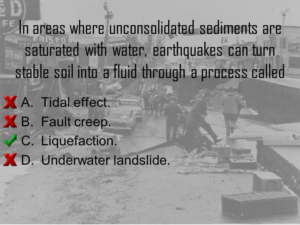In areas where unconsolidated sediments are saturated with water, earthquakes can turn stable soil into a fluid through a process called