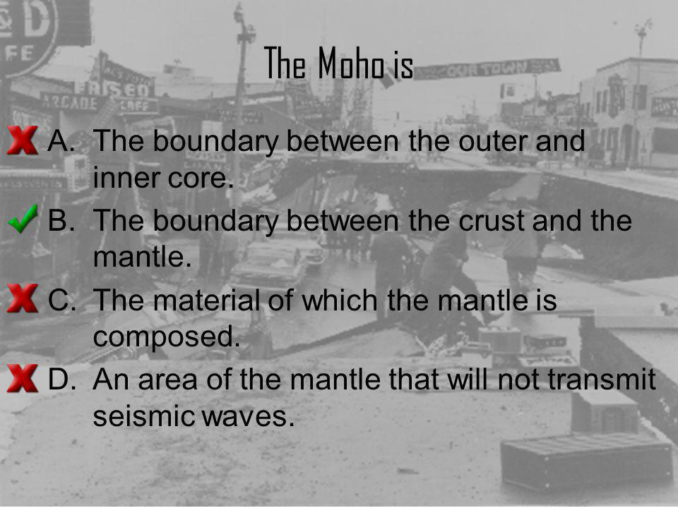 The Moho is The boundary between the outer and inner core.