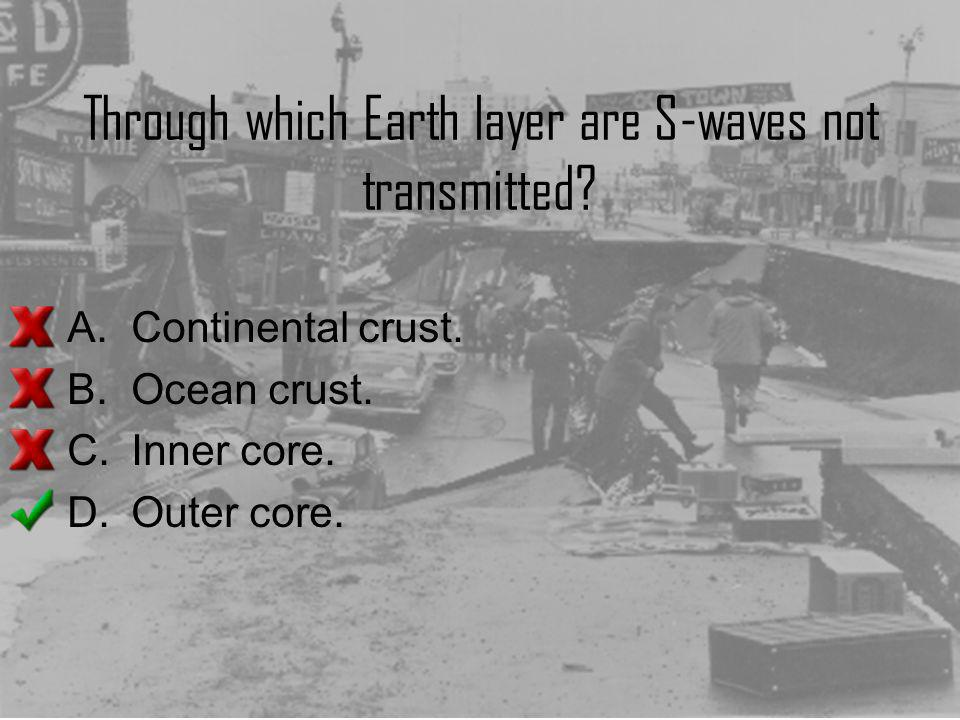 Through which Earth layer are S-waves not transmitted