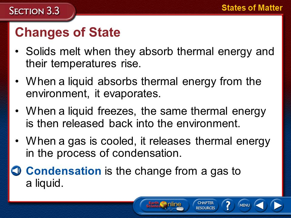 States of Matter Changes of State. Solids melt when they absorb thermal energy and their temperatures rise.