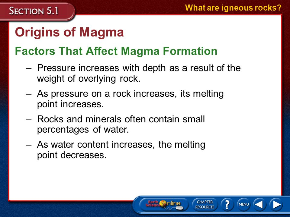 Origins of Magma Factors That Affect Magma Formation