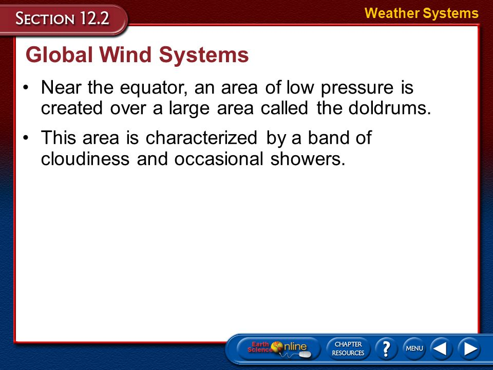 Weather Systems Global Wind Systems. Near the equator, an area of low pressure is created over a large area called the doldrums.