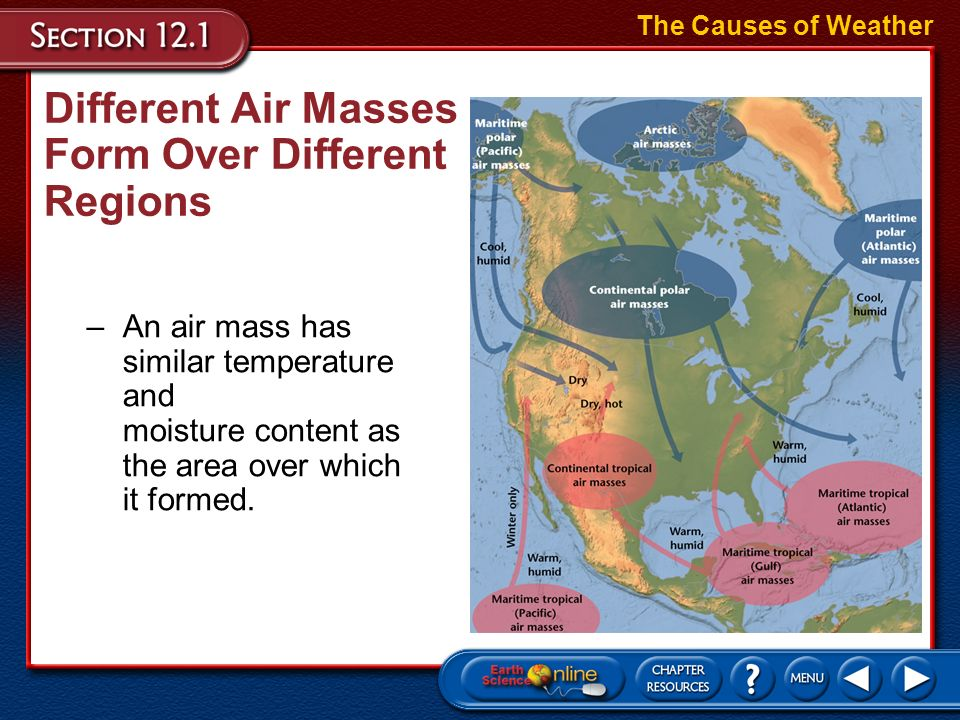 Different Air Masses Form Over Different Regions