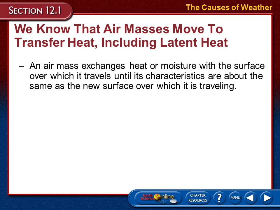 We Know That Air Masses Move To Transfer Heat, Including Latent Heat