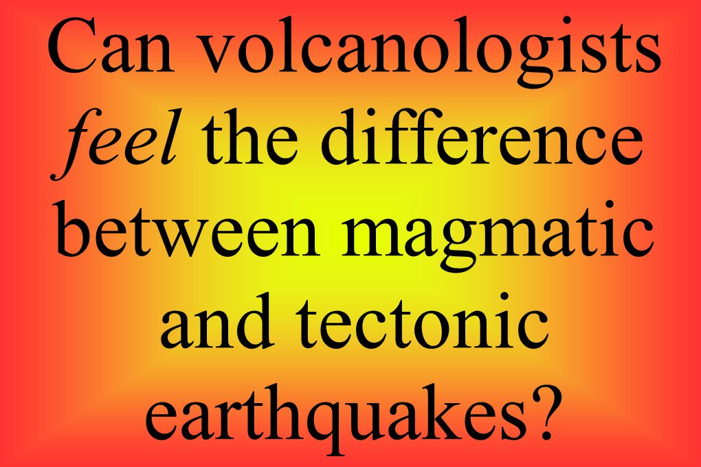 Can volcanologists feel the difference between magmatic and tectonic earthquakes