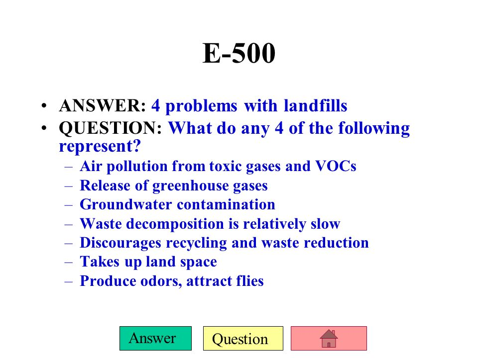 E-500 ANSWER: 4 problems with landfills