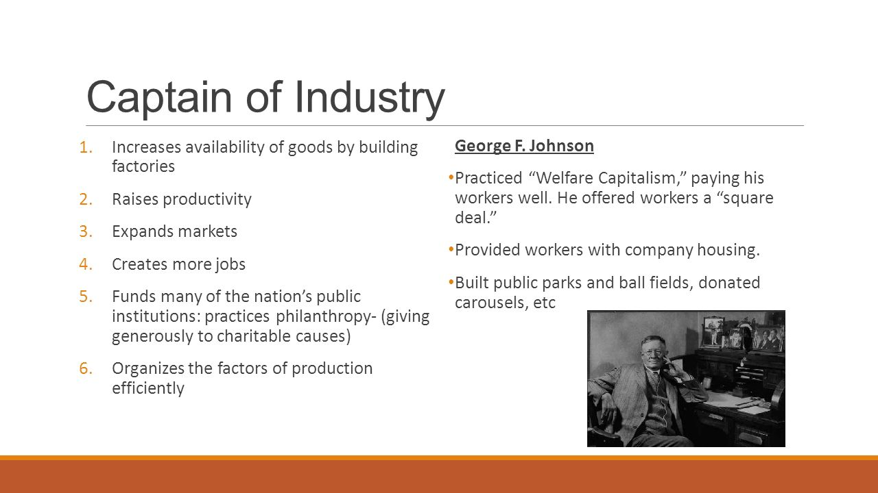Captain of Industry Increases availability of goods by building factories. Raises productivity. Expands markets.